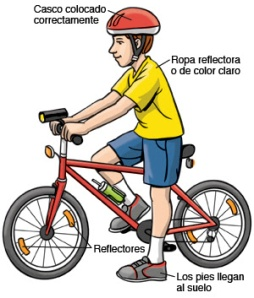 A 10 year-old boy prepares to safely ride his bicycle.
